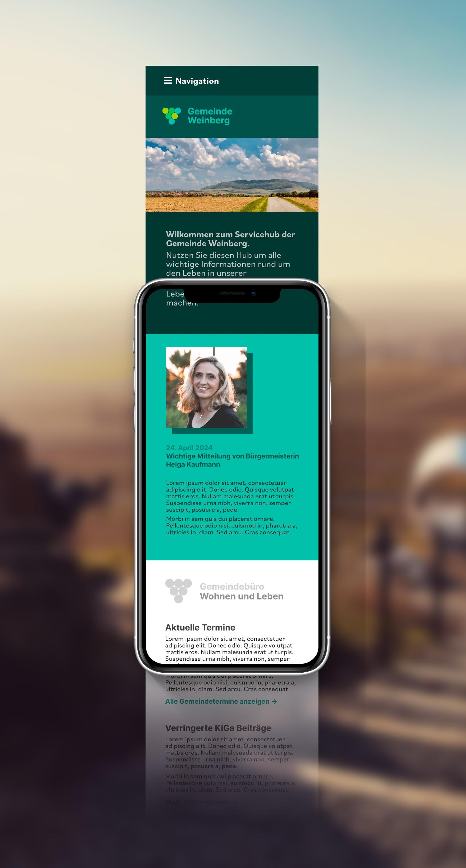 Die Darstellung der Website auf einem Smartphone