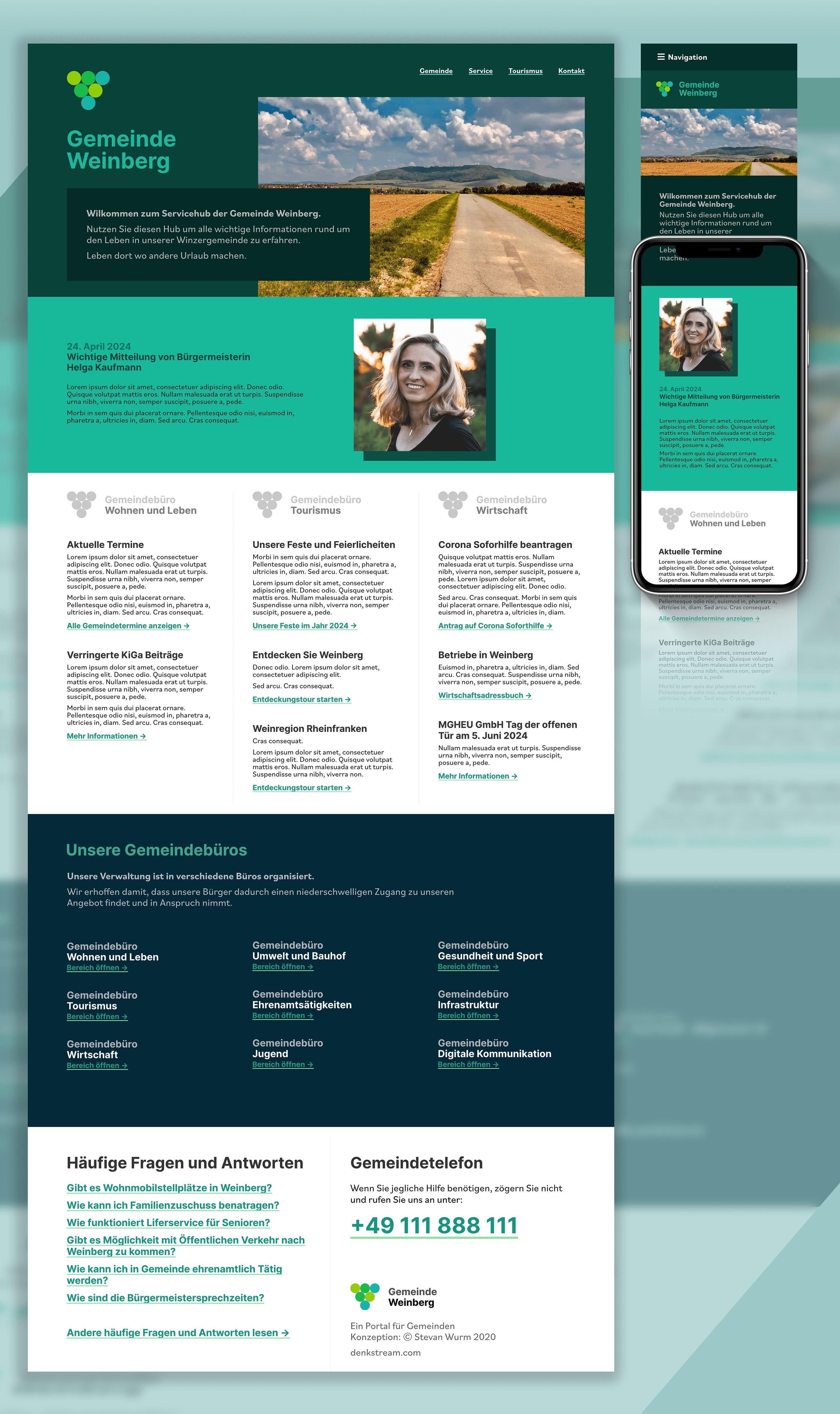 Ein Bild mit einer Desktopversion und einer Mobilversion einer Website